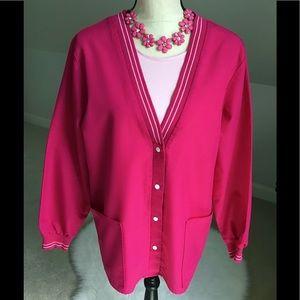 💕Crest Designer Pink Sporty Snap V-Neck Scrub Jacket